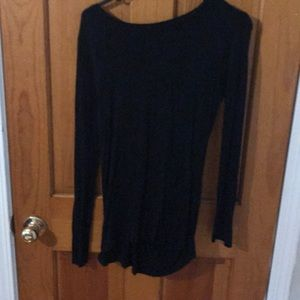 Black long sleeve with open back, key hole detail